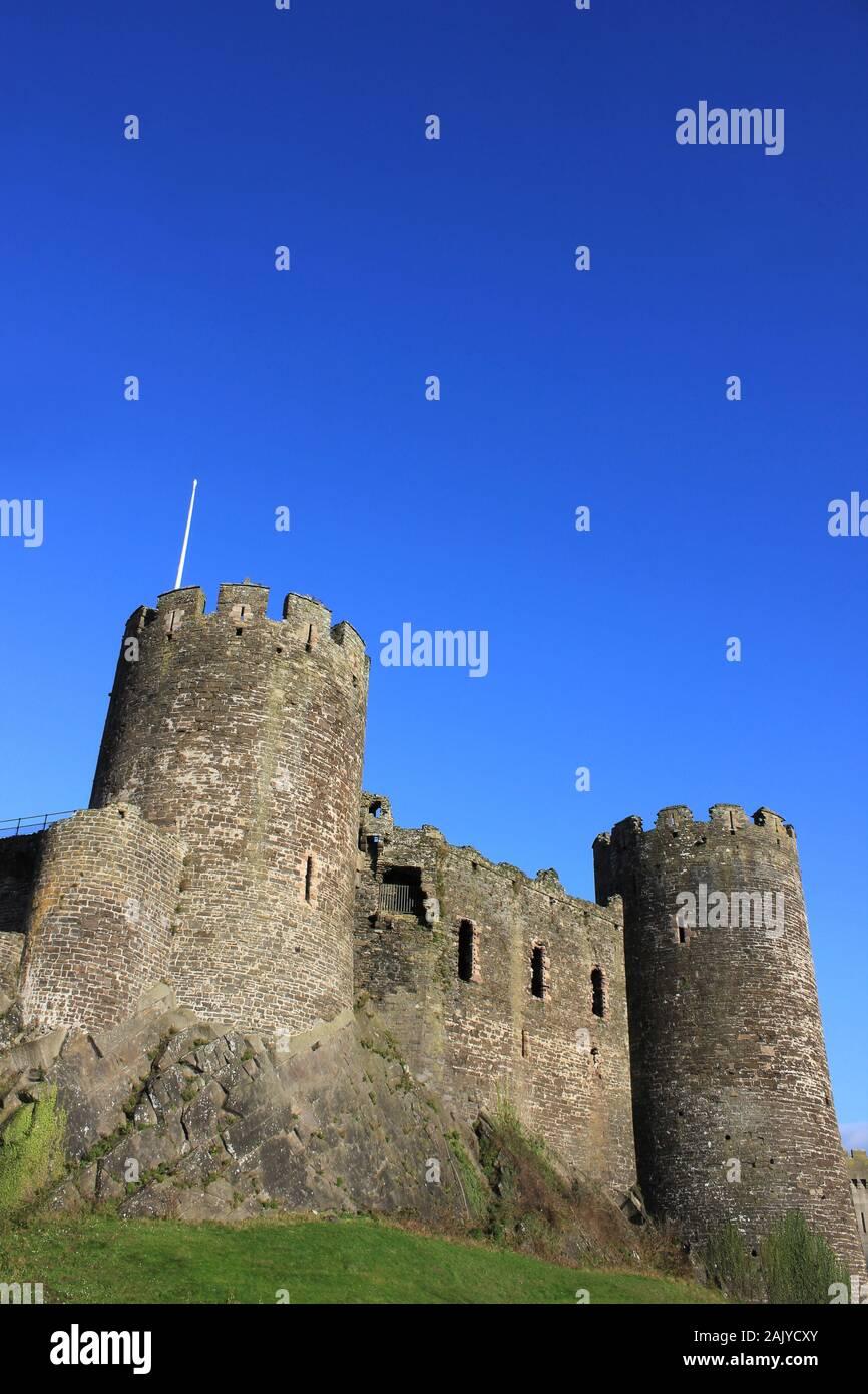 Château de Conwy, Pays de Galles en hiver Banque D'Images