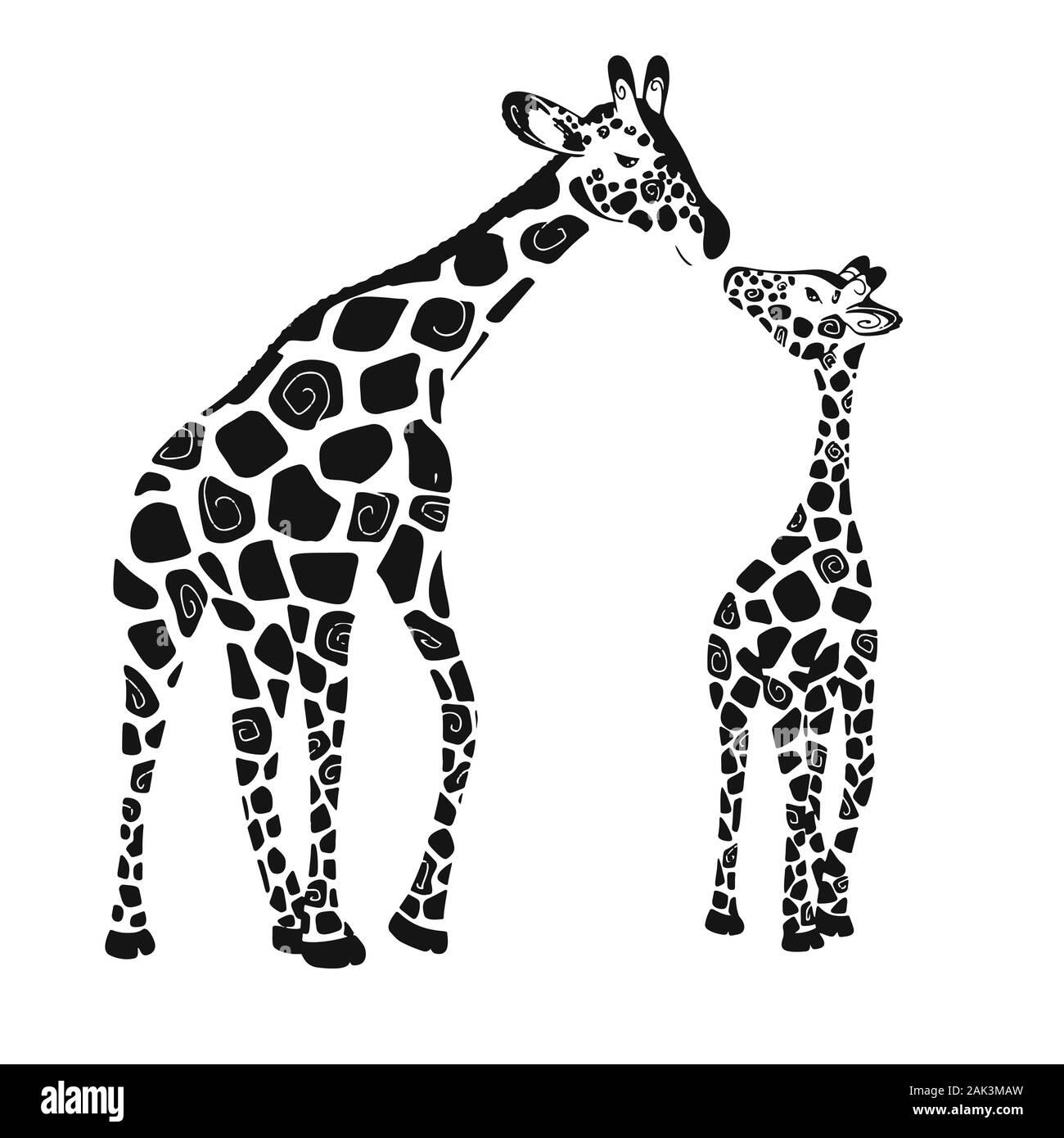Mignon deux girafes isolé sur un fond blanc. Bébé girafe girafe et des adultes. Vector illustration Illustration de Vecteur