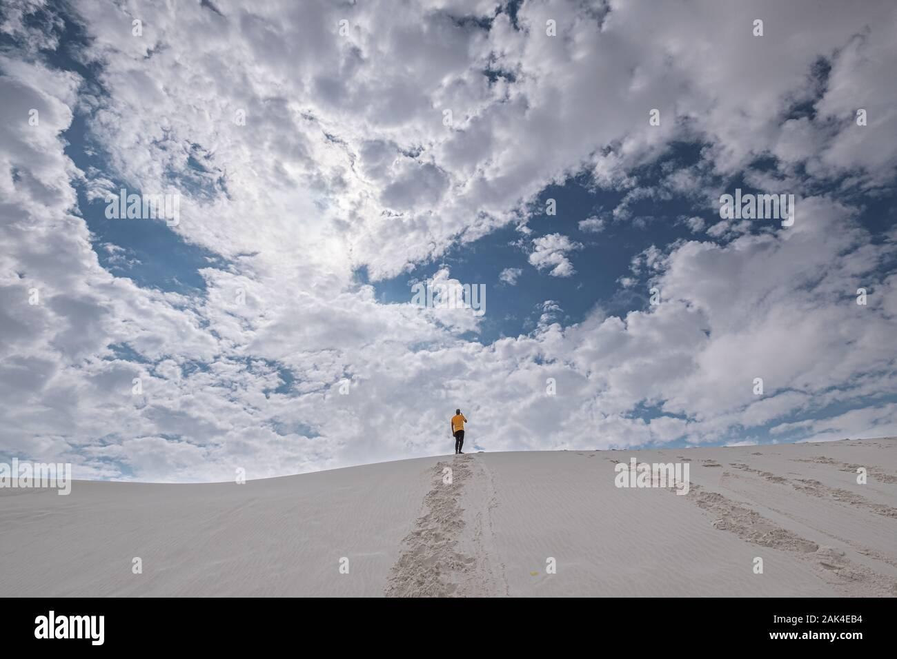 Vue arrière d'un homme en jaune t-shirt debout sur une dune de sable dans la distance contre ciel dramatique Banque D'Images