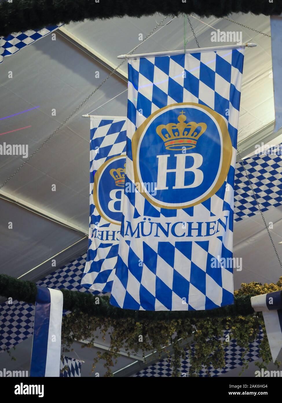 Munich, Allemagne - CIRCA Octobre 2019: Hofbraeu beer sign Banque D'Images