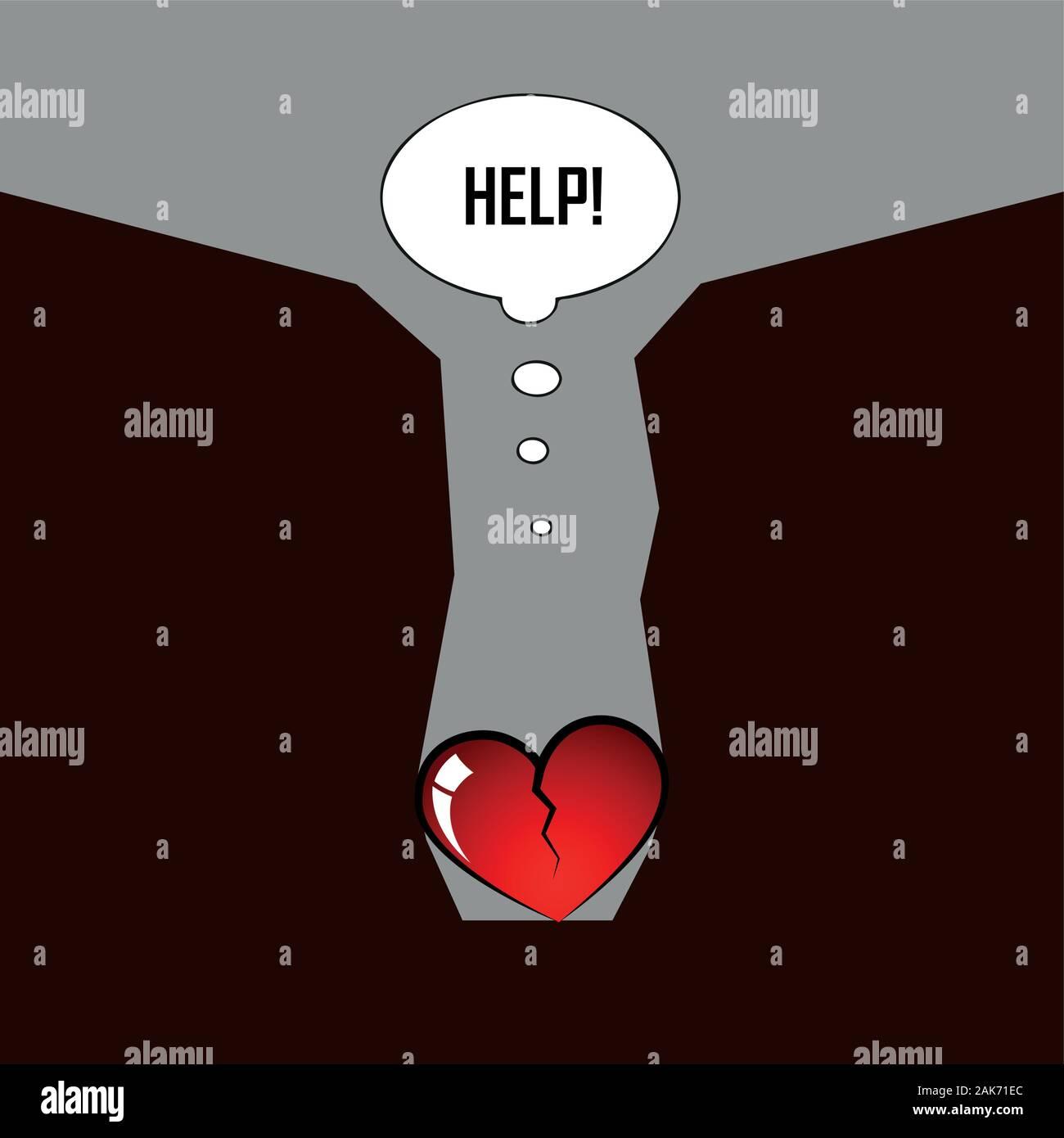 Cœur brisé à l'intérieur d'un canyon besoin d'aide pour les pictogrammes illustration vecteur EPS10 Illustration de Vecteur