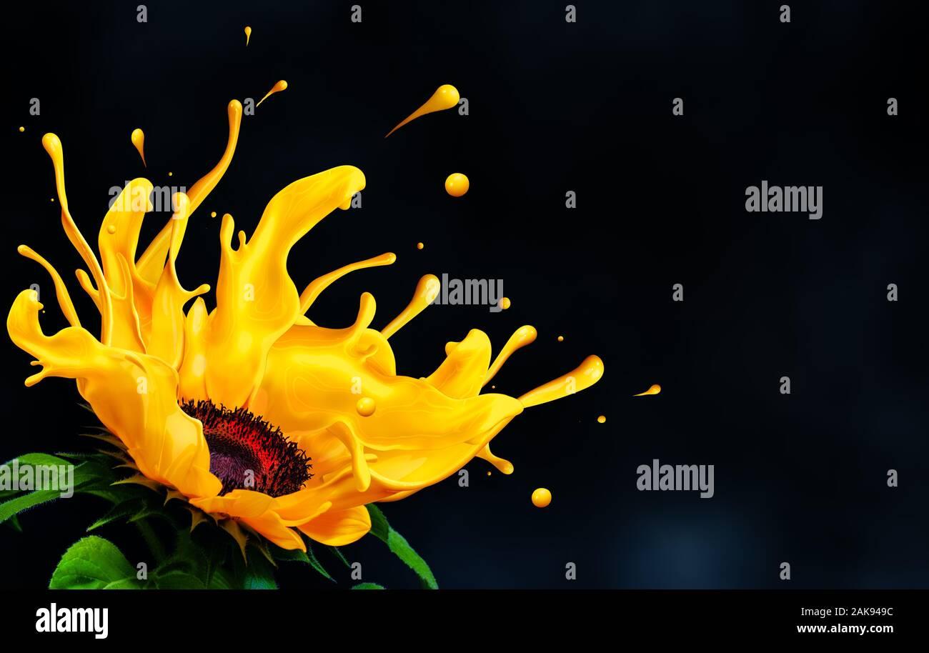 La fonte liquide couleur tournesol splash avec copie espace. Banque D'Images