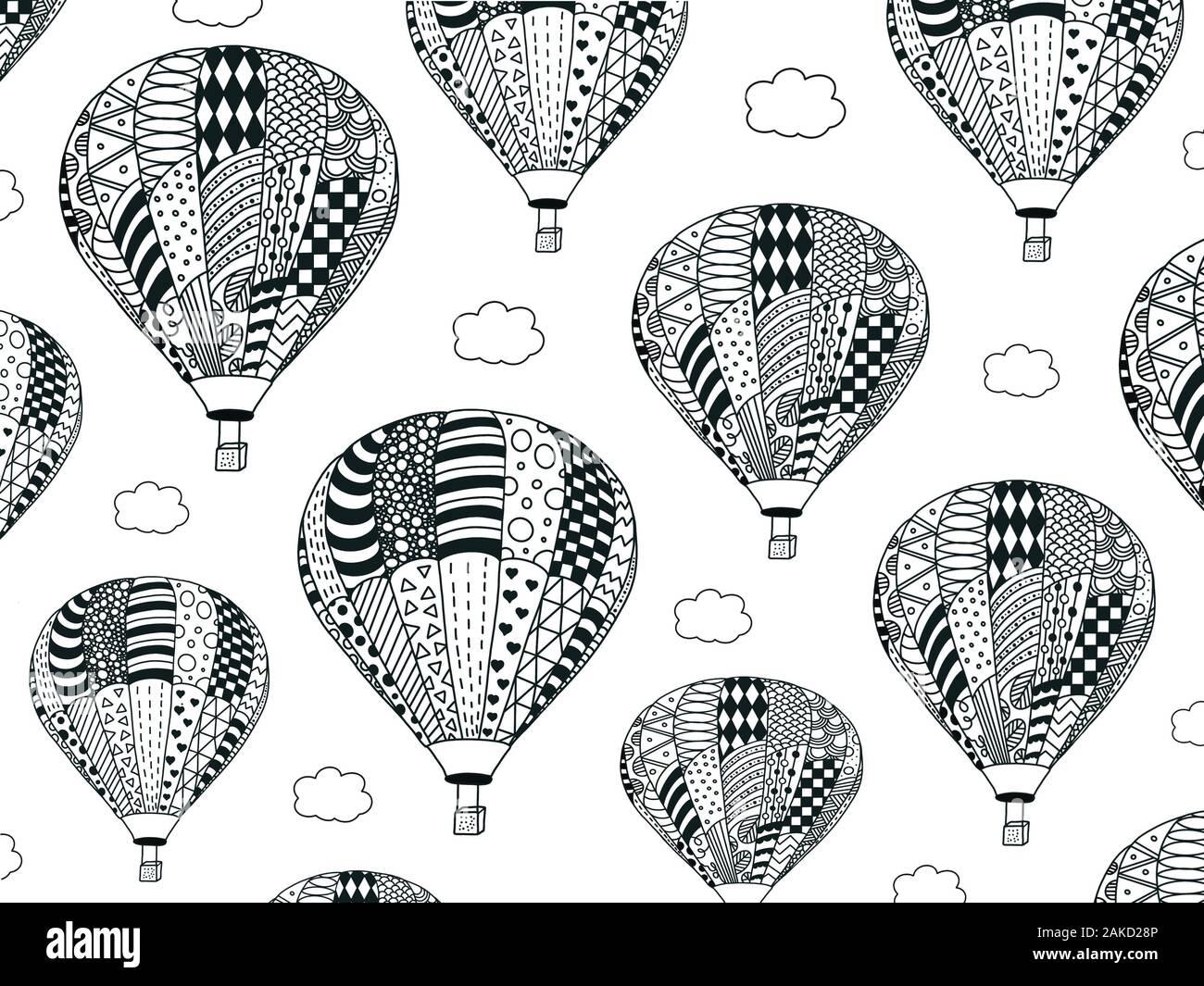 Coloriages De Nombreux Ballons Avec Les Nuages Magique Zentangle Antistress Coloriage Pour Enfants Et Adultes Application Dans Les Documents Imprimes Photo Stock Alamy