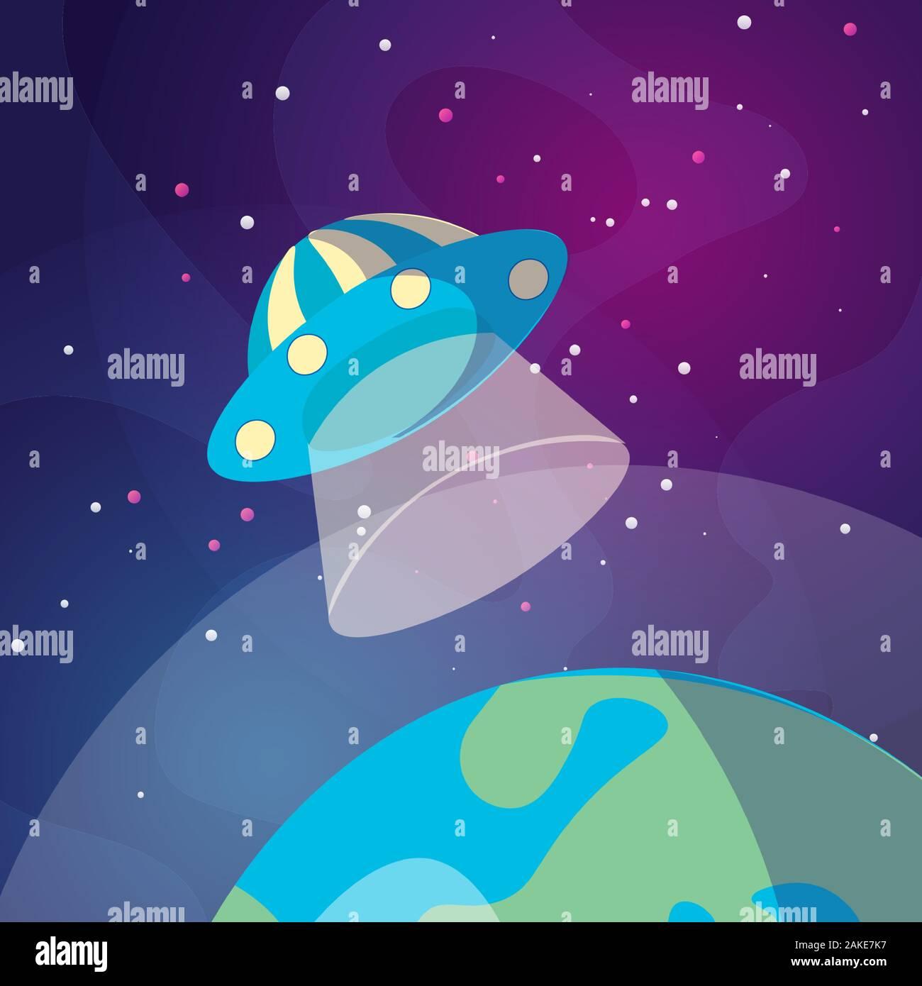 Cute cartoon illustration de UFO space ship l'atterrissage sur la terre ou planète Exo. Illustration de soucoupe volante sur fond de l'espace lointain. L'atterrissage sur un Illustration de Vecteur