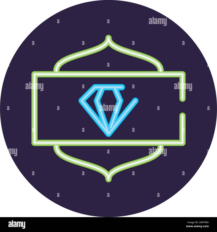 Neon De Decoration Interieur diamond néon à l'intérieur de cercle noir, décoration design