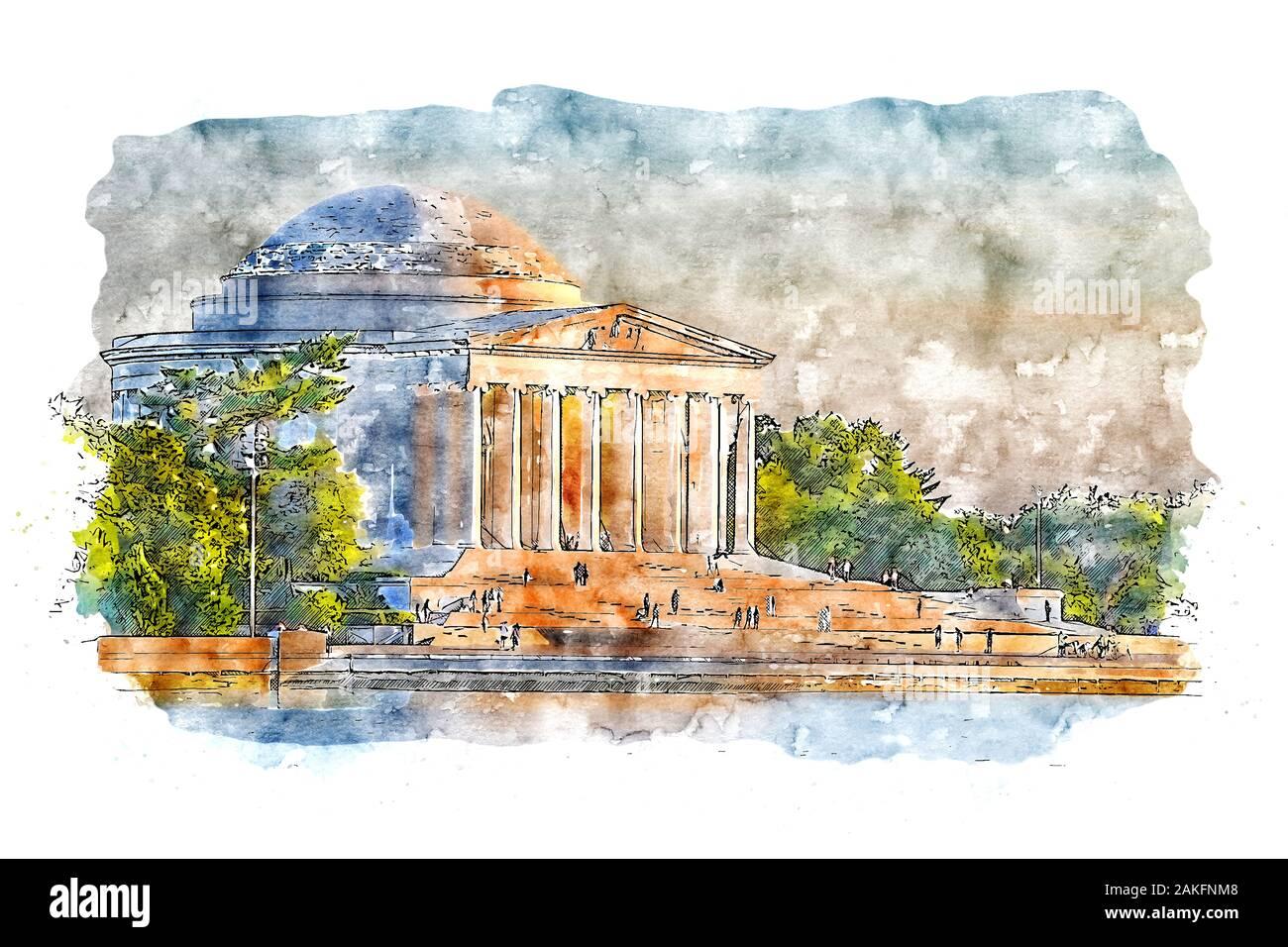 Jefferson Memorial, monument à Thomas Jefferson, le troisième président des États-Unis Banque D'Images