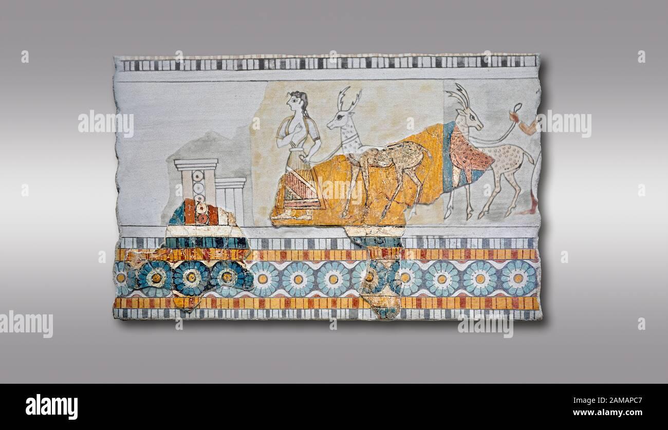 Minoan Wall art freco représentant une procession menant à une chèvre d'Agia Triada (Hagia Triada) Crète. 1450-1300 AV. J.-C. Musée Archéologique D'Héraklion. Gre Banque D'Images