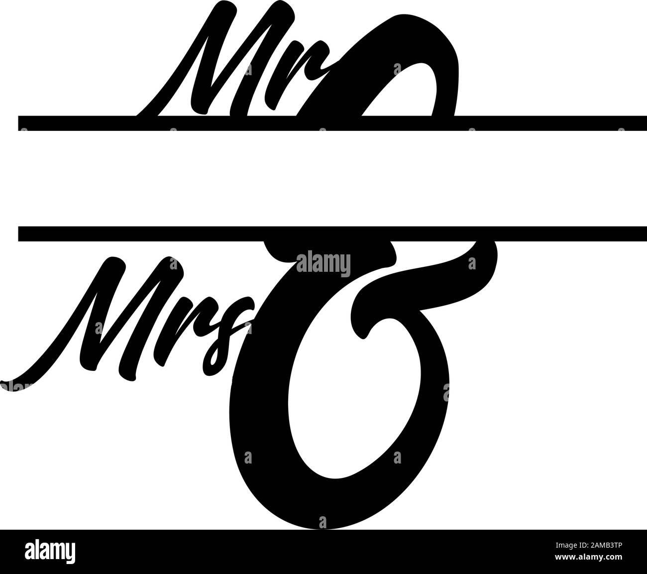 M. et Mme monogramme ont séparé le vecteur initial de la lettre Illustration de Vecteur