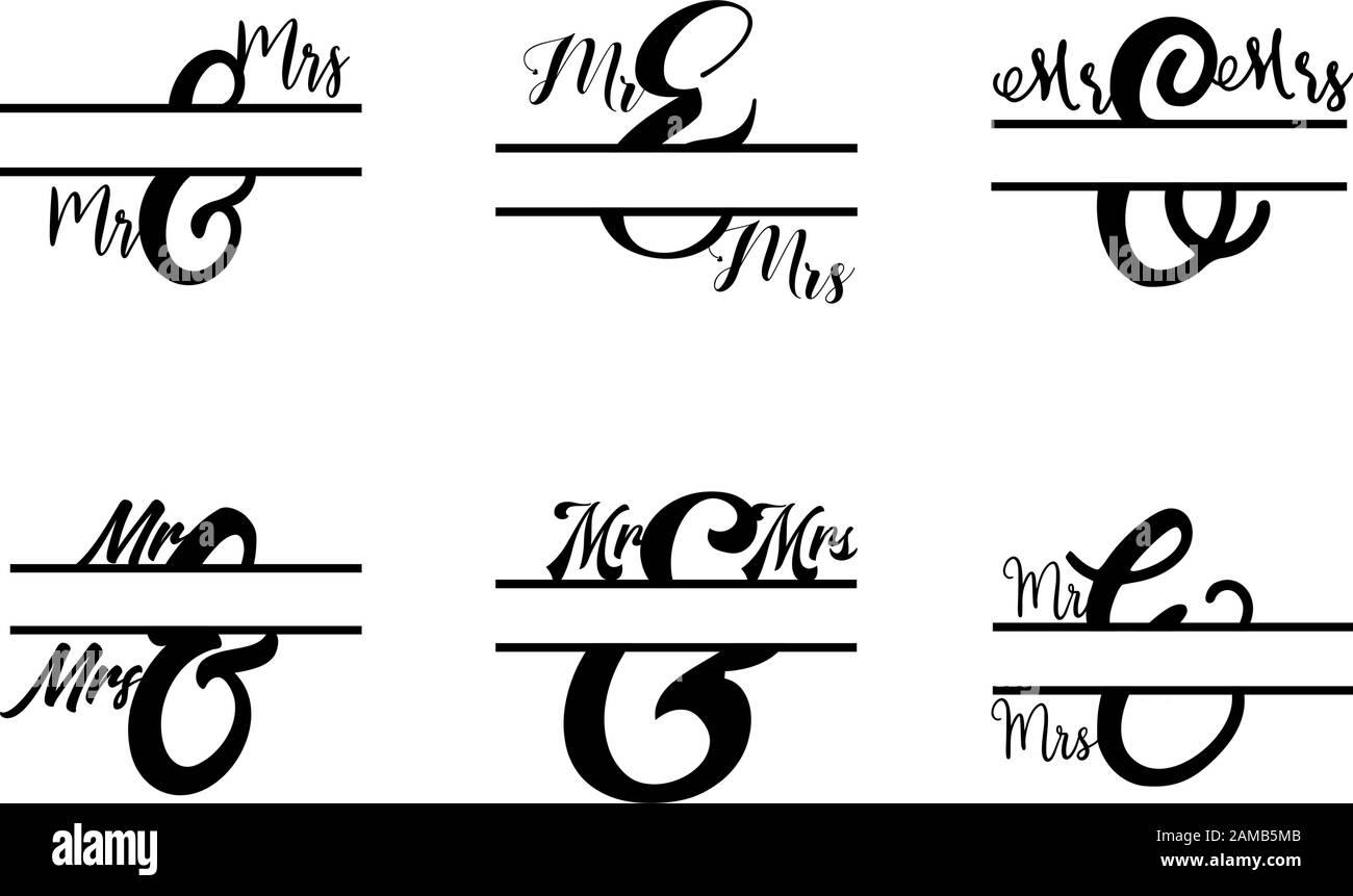Ensemble de vecteurs initiaux de lettre divisée MR et MRS monogramme Illustration de Vecteur