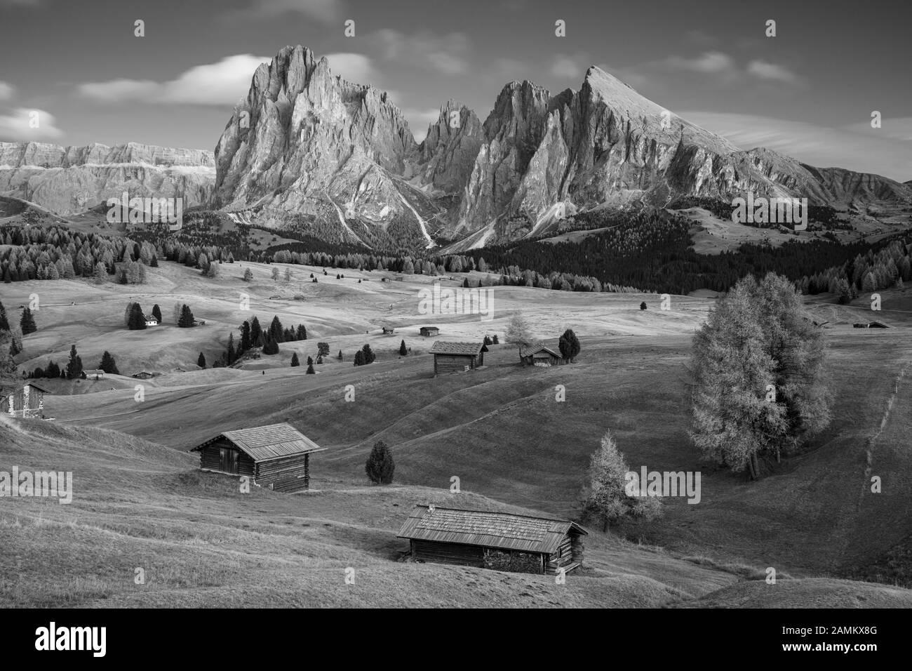 Seiser Alm, Dolomites. Image du paysage noir et blanc du plateau dolomite de Seiser Alm A et du plus grand pré alpin d'Europe. Banque D'Images