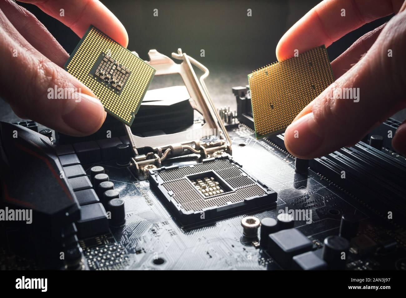 Les mains montrent différents processeurs. Deux CPU contre l'arrière-plan de la carte mère. Le choix du processeur, l'avantage de la marque et Banque D'Images