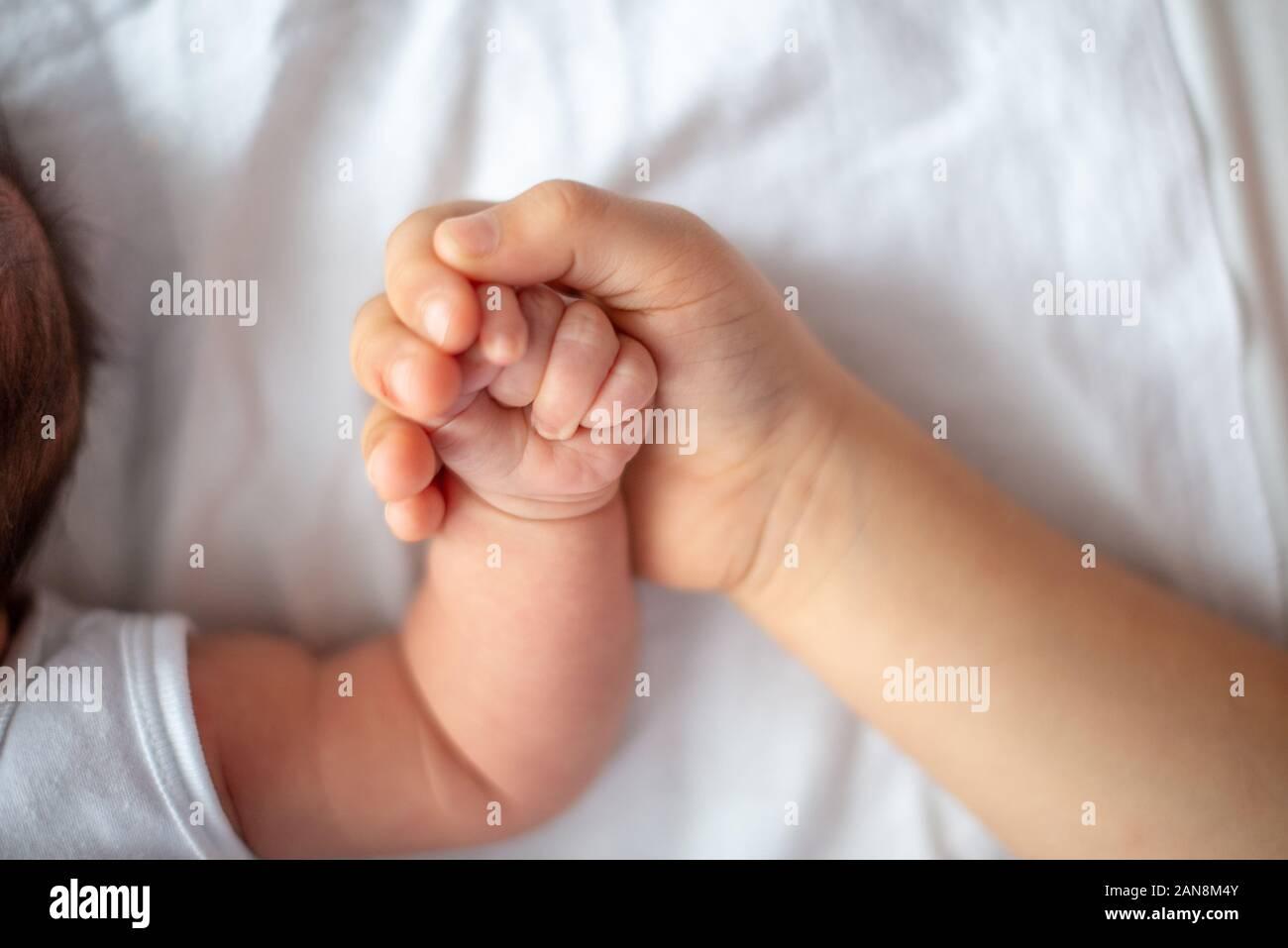 Libre d'une sœur qui main tenir la main d'un mois petite soeur. Vue d'en haut Banque D'Images