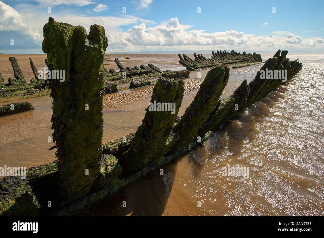 Épave du SS Nornen barque norvégien - une caractéristique de dunes Berrow près de Burnham on Sea puisqu'il s'est échoué en 1897 - Somerset UK Banque D'Images