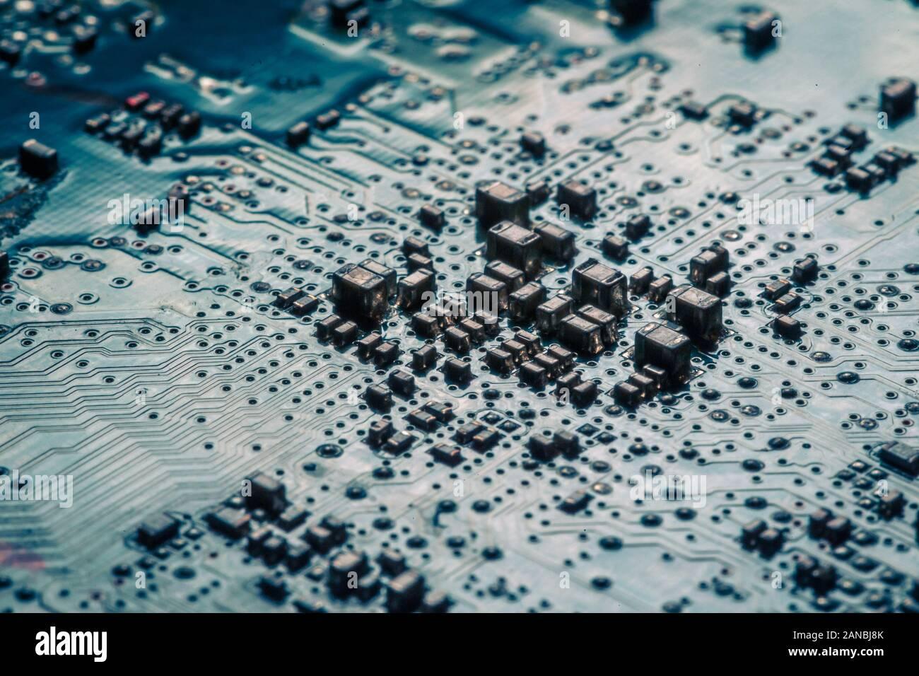 Carte électronique. Technologie électronique du matériel informatique. Puce numérique de la carte mère. Science technique. Processeur de communication intégré. CMS Banque D'Images