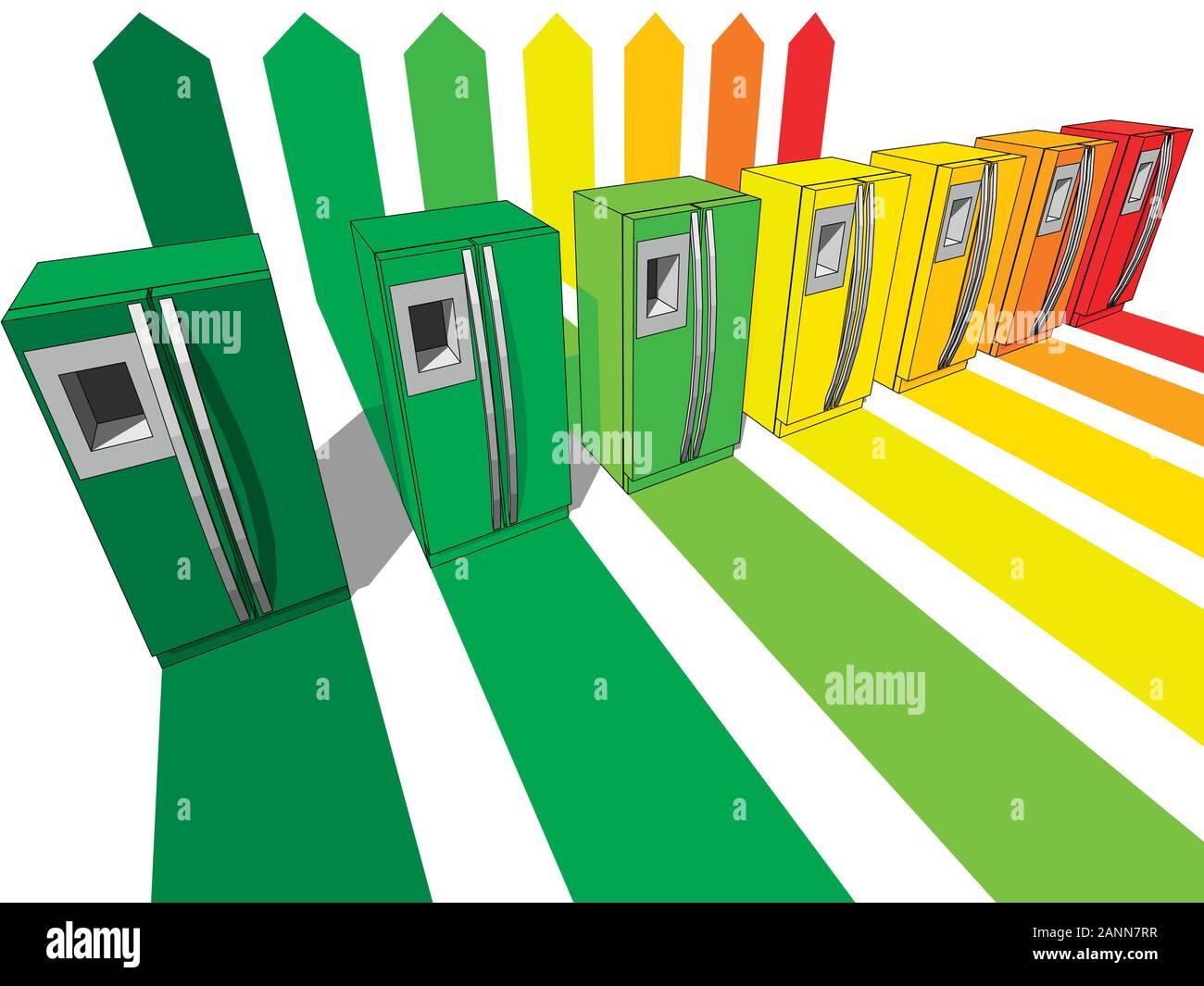 Sept d'un réfrigérateur certifié en sept classes énergétiques dans l'évaluation énergétique schéma électrique Illustration de Vecteur