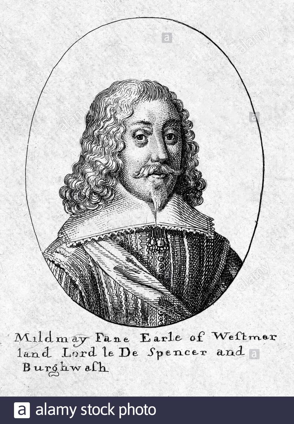 Fane Mildmay, 2e comte de Westmorland, 1602 - 1666, portant le titre de seigneur le Despenser entre 1624 et 1628, était un noble anglais, homme politique, et écrivain, gravure par Wenceslaus Hollar aquafortiste bohème à partir de 1600 Banque D'Images