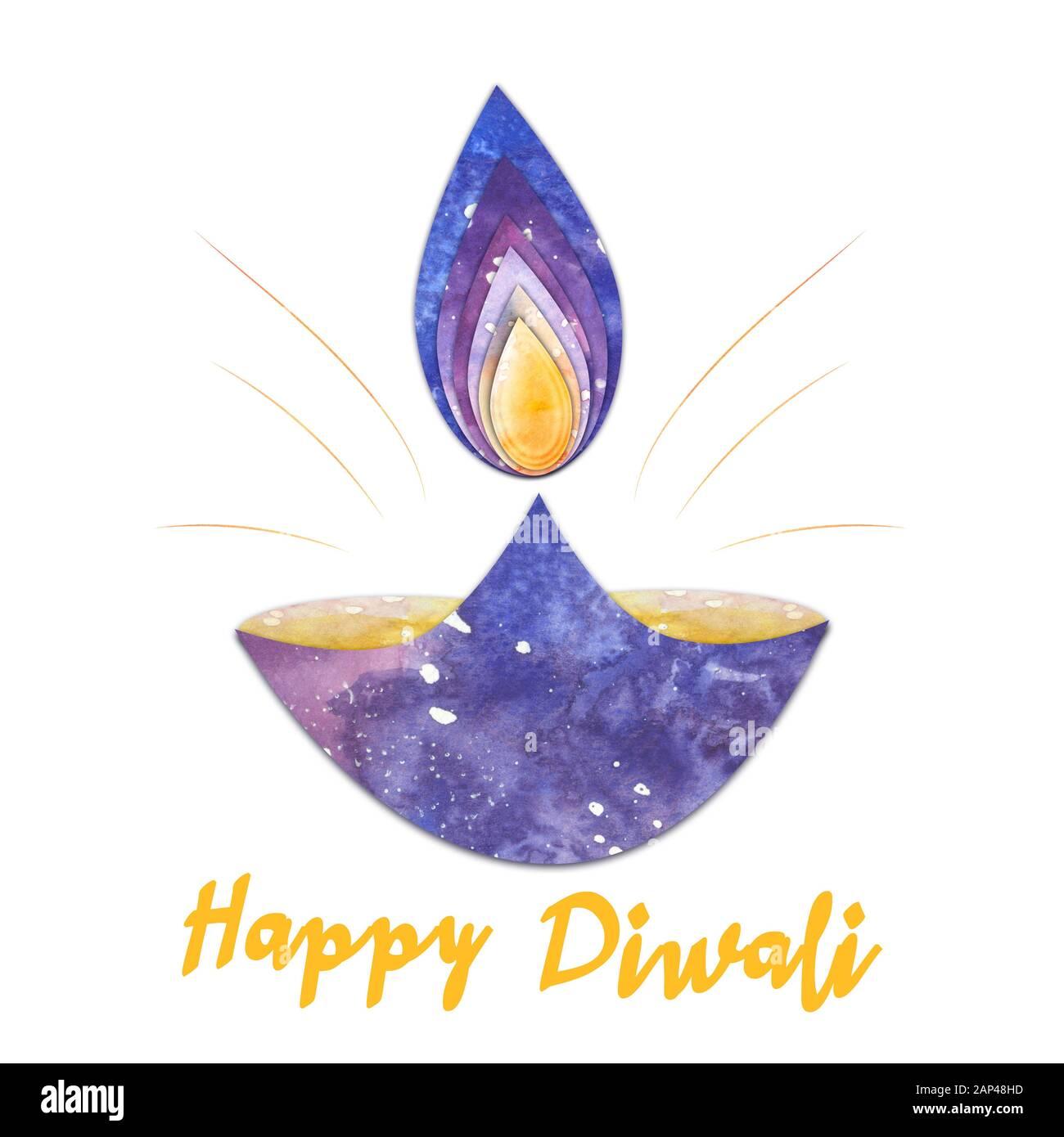 lampe diwali aquarelle avec flamme et brillance isolée sur fond de whiote Banque D'Images