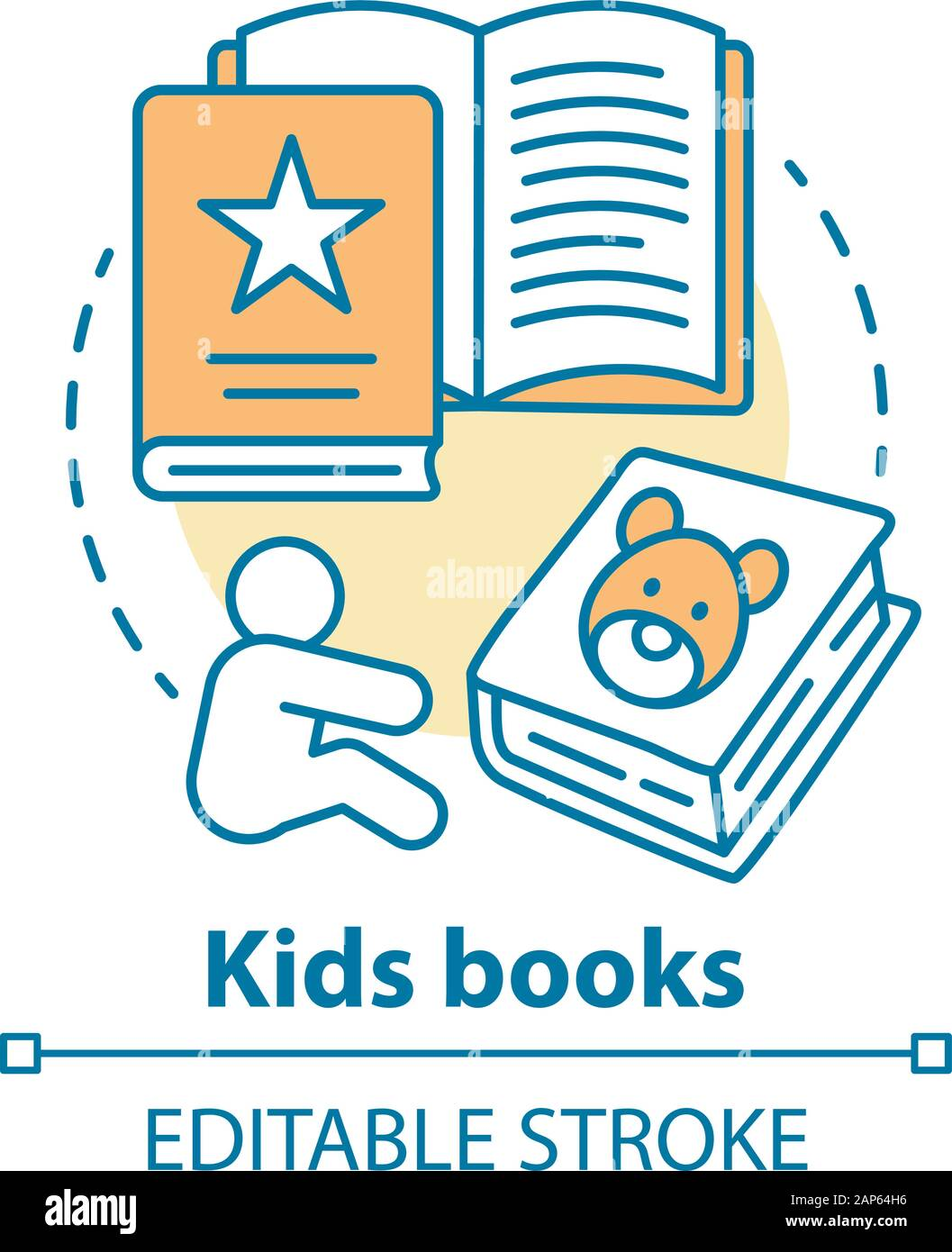 Enfants livres concept icône. La littérature pour enfants idée fine ligne illustration. Des contes, des livres d'images, des poèmes pour enfants. Des exercices d'éducation préscolaire. V Illustration de Vecteur