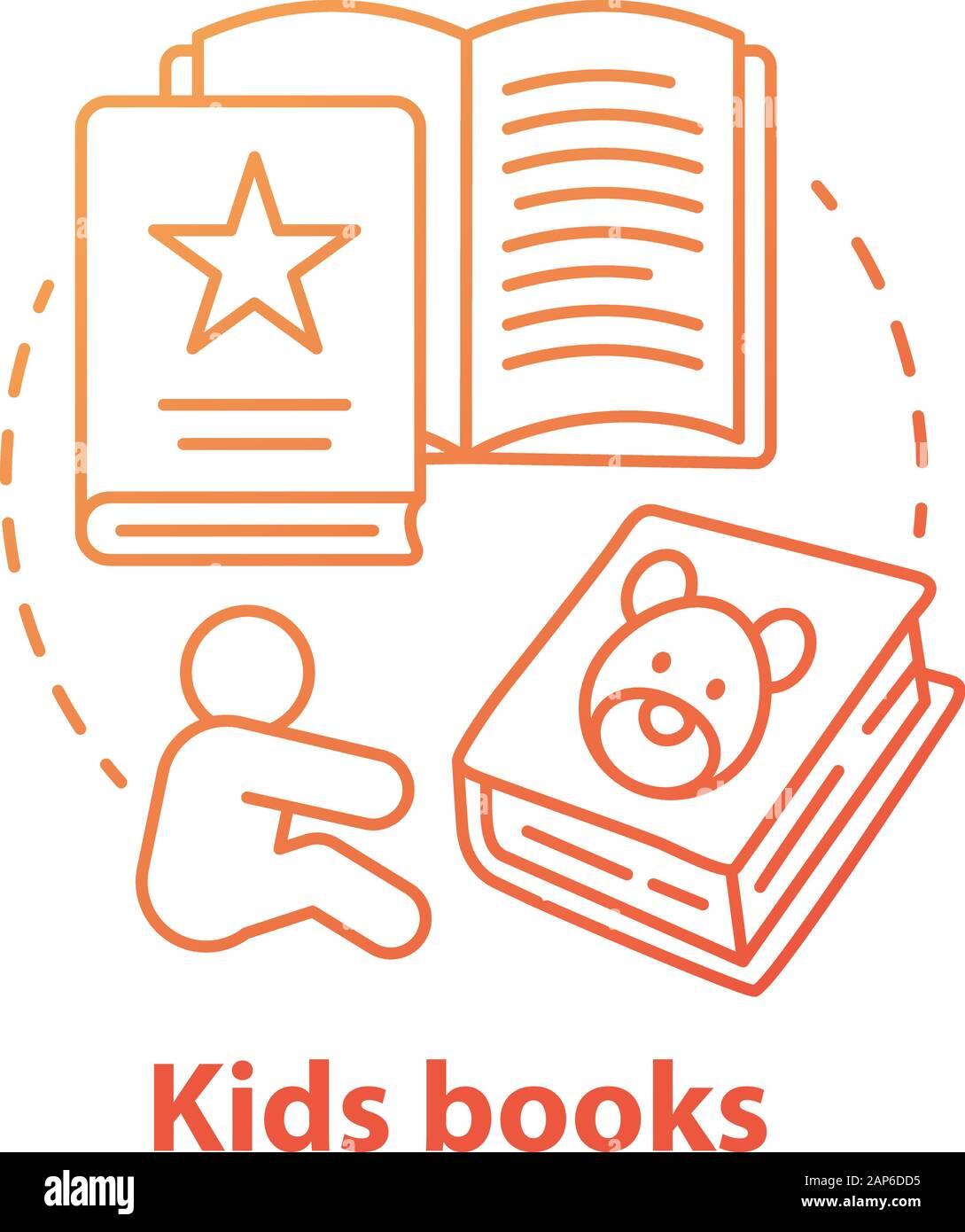 Enfants livres concept rouge icône. La littérature pour enfants idée fine ligne illustration. Des contes, des livres d'images, des poèmes pour enfants. L'exercice de l'éducation préscolaire Illustration de Vecteur