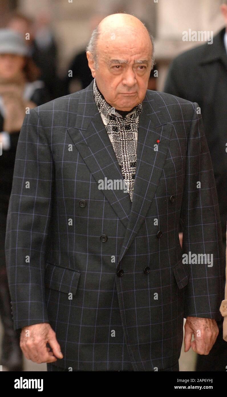 Mohamed Al-Fayed comparait à la Haute Cour de Londres pour l'enquête sur la mort de son fils Dodi Fayed et de sa princesse Diana. Banque D'Images