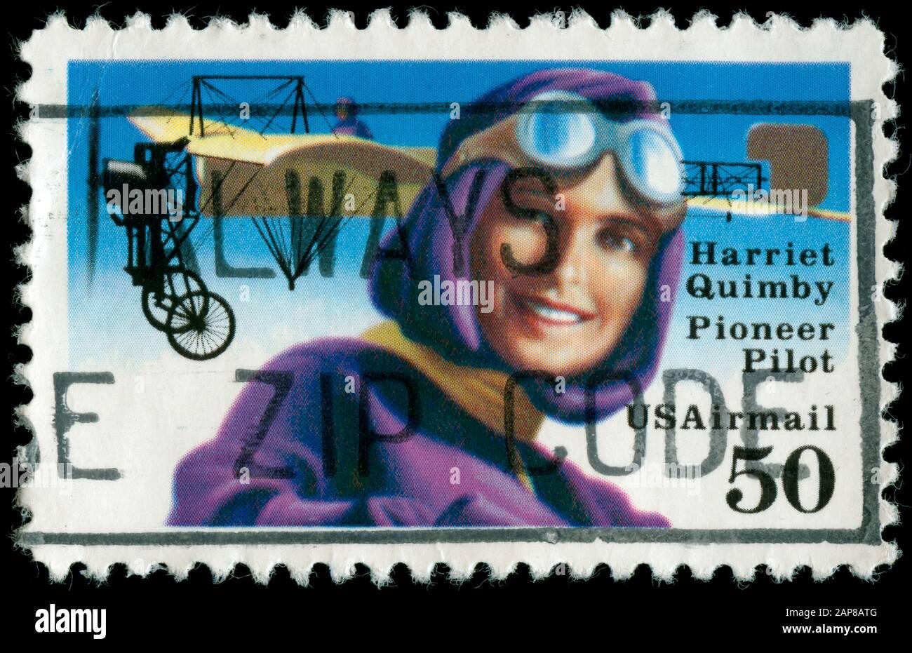 Harriet Quimby (1884-1912), premier pilote américain avec Bleriot Banque D'Images
