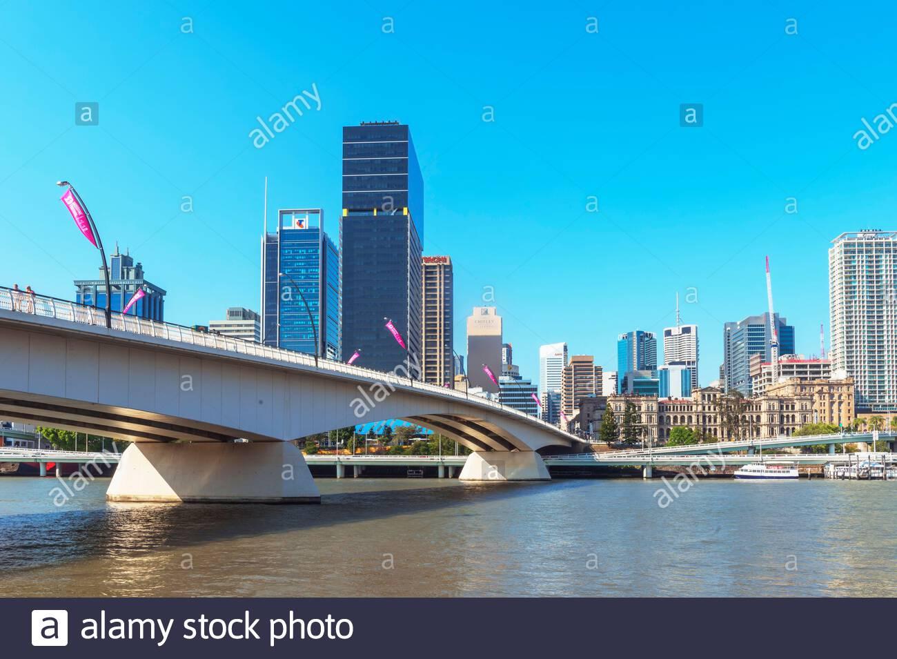 Quartier des affaires de la ville et le fleuve Brisbane, Brisbane, Queensland, Australie Banque D'Images