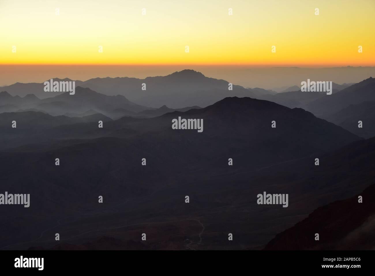 Lever Du Soleil Au Mont Sinaï, Egypte Banque D'Images