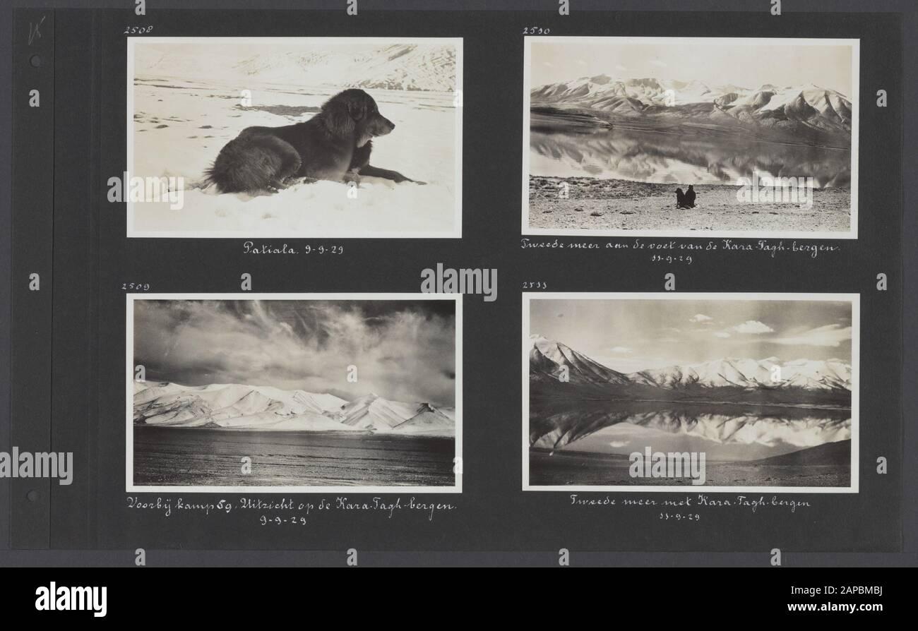 PhotoAlbum Fisherman: Third Karakoru expedition, 1929-1930 Description: Album sheet with four Photographers. En haut à gauche: Le chien Patiala; en bas à gauche: Voir le camp 59 passé sur les montagnes Kara Tagh; en haut à droite et en bas à droite: Le second lac au pied des montagnes Kara Tagh: Date: 1929/09/29 lieu: Inde, Karakorum, Pakistan mots clés: Montagnes, chiens, lacs Banque D'Images