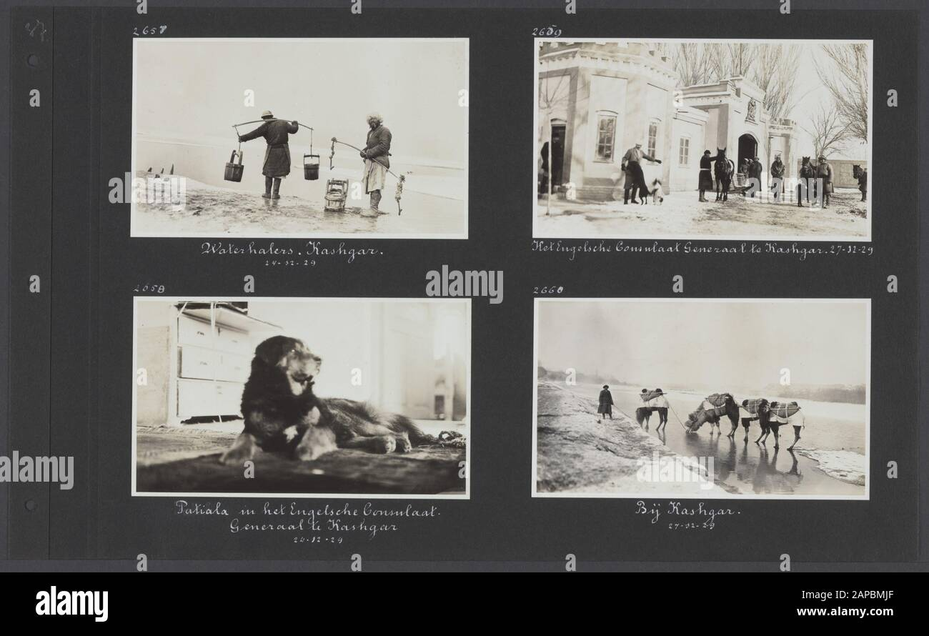 PhotoAlbum Fisherman: Third Karakoru expedition, 1929-1930 Description: Album sheet with four Photographers. En haut à gauche: Aquarelles près de la rivière à Kashgar; en bas à gauche: Le chien Patiala dans la maison du consul général anglais à Kashgar; en haut à droite: Membres expéditionnaires avec chevaux et chiens pour le Consulat général anglais à Kashgar; en bas à droite: Chameaux sur la rivière gelée à Kashgar Date: 1929/ 12/24 Lieu : Chine, Kashgar Mots Clés : Chiens, Chameaux, Chevaux, Rivières Banque D'Images