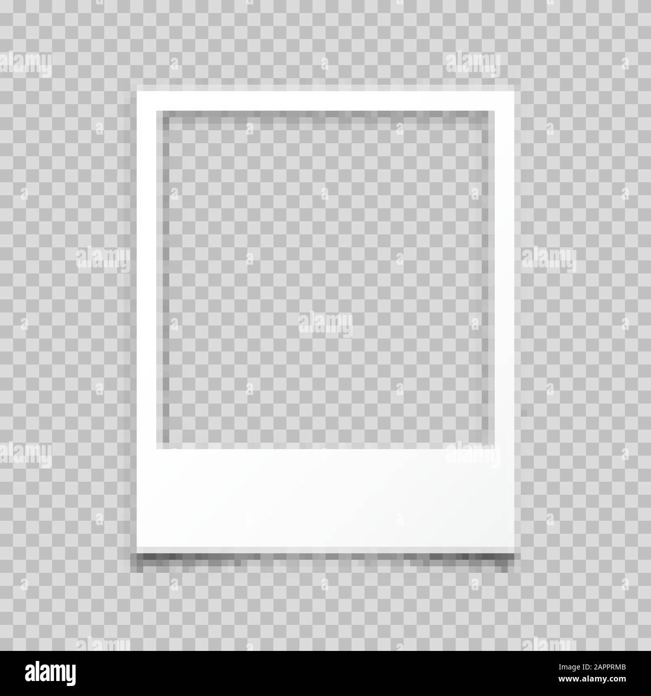Cadre de carte photo vide réaliste, jeu de films. Photo rétro vintage. Image d'instantané numérique. Modèle ou maquette pour la conception. Illustration vectorielle. Illustration de Vecteur