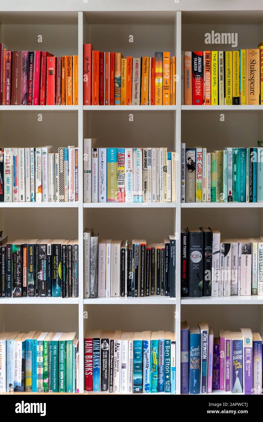 Bibliothèque/étagère en bois blanc remplie de livres dans un intérieur moderne Design UK Home Banque D'Images