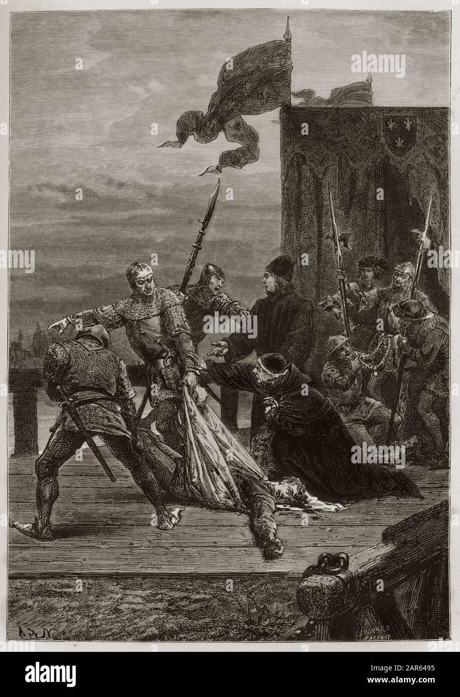 Guerre de cent ans (Guerre civique entre Armagnacs et Bourguignons) - Assassinat de Jean I de Bourgogne, dit sans pur (1371-1419), sur le pont de Mont Banque D'Images