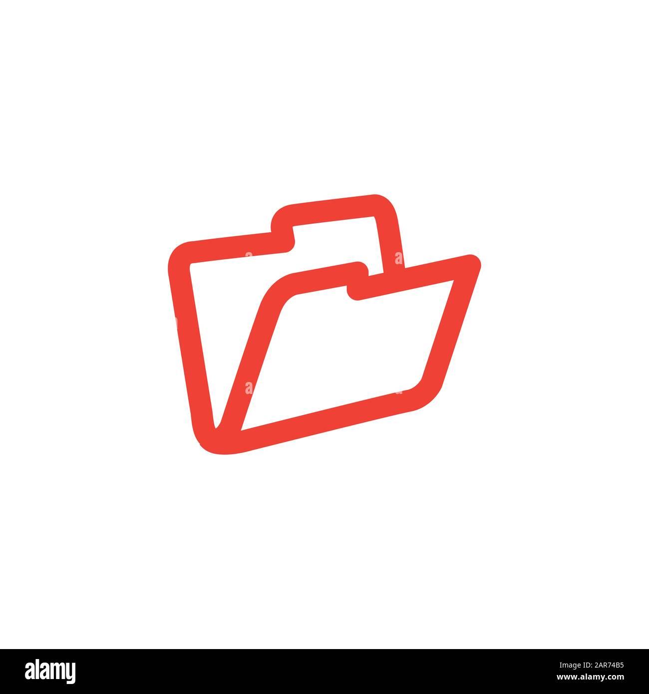 Icône Rouge Du Dossier Sur Fond Blanc. Illustration Vectorielle De Style Plat Rouge. Banque D'Images