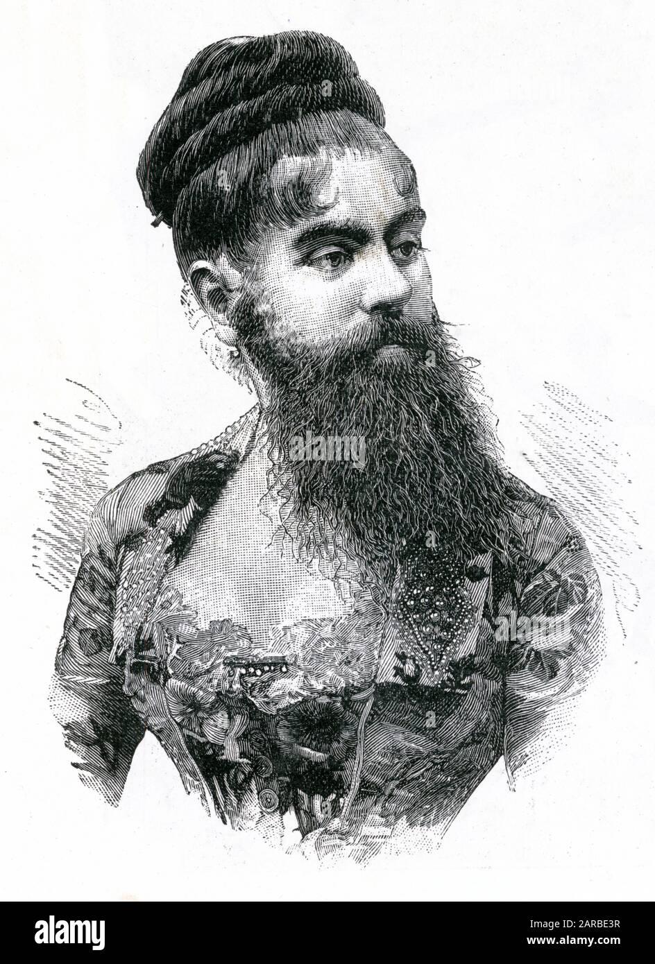 Annie Jones Elliot (1865 - 1902) également connue sous le nom de « la Dame de barbe » a visité le showman P. T. Barnum comme une attraction de cirque. Banque D'Images