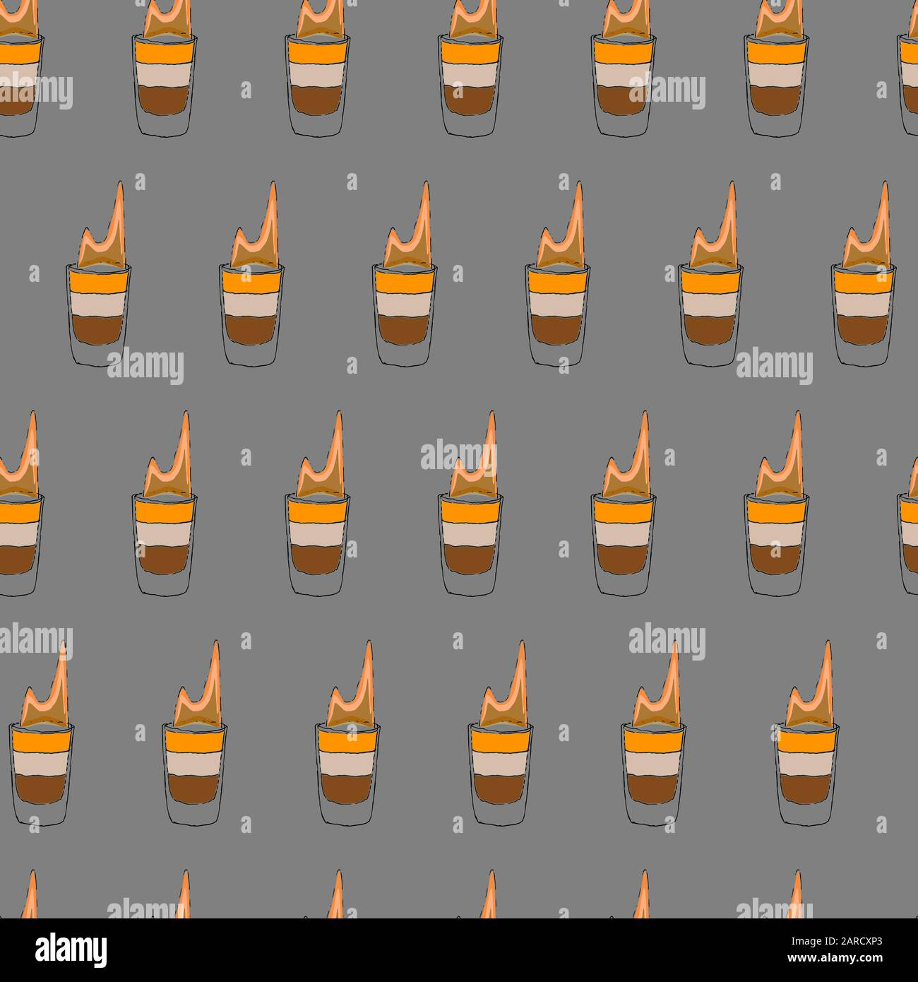 Cocktail sans coutures. Les contours d'esquisse de dessin à la main sur fond gris peuvent être imprimés sur des textiles, du papier peint, du papier d'emballage, des cartes de vœux, utilisés dans le logo, la bannière, la page d'accueil. Illustration Vectorielle. EPS10 Illustration de Vecteur