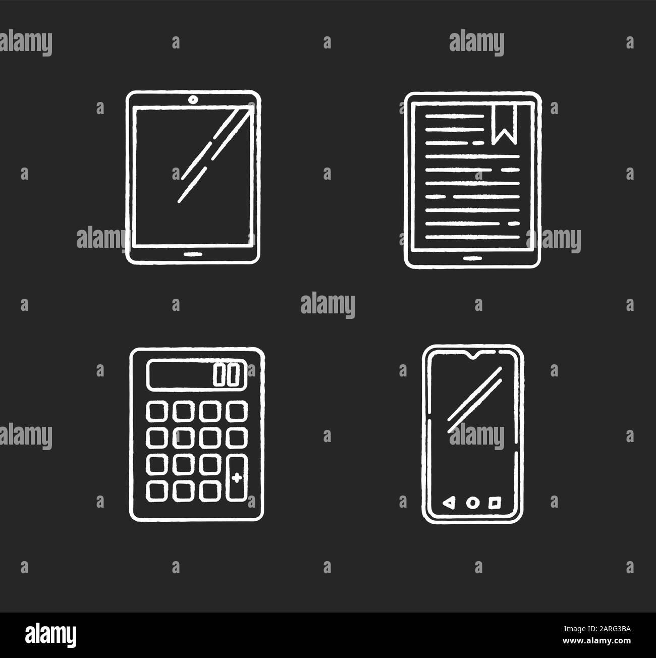 Les périphériques mobiles affichent des icônes blanches sur fond noir. Gadgets électroniques de poche. Tablette, lecteur électronique, livre électronique. Smartphone, calculatrice. Numérique compact Illustration de Vecteur