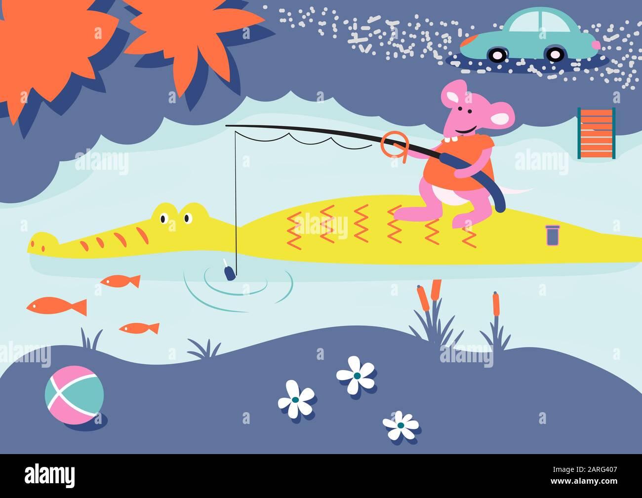 Illustration Du Livre Enfant De Peche De Dessin Anime Souris Et Alligator Sur Une Riviere Image Vectorielle Stock Alamy