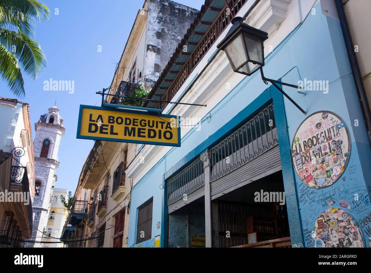 Sign, La Bodeguita Del Medio Restuarant And Bar, Vieille Ville, Site Classé Au Patrimoine Mondial De L'Unesco, La Havane, Cuba, Antilles, Amérique Centrale Banque D'Images