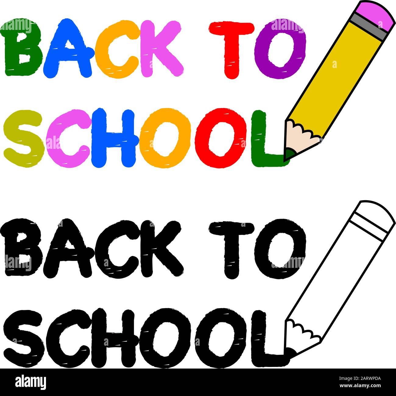 Illustration montrant une icône crayon écrivant les mots Retour à l'école Illustration de Vecteur