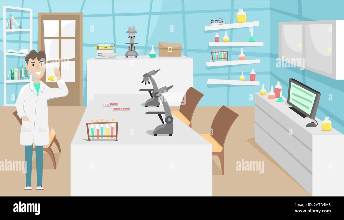 Laboratoire chimique et biologique avec tubes à essai, flacons et microscopes. Recherche et invention de vaccins. Maladie virale. Épidémie. Illustration de Vecteur