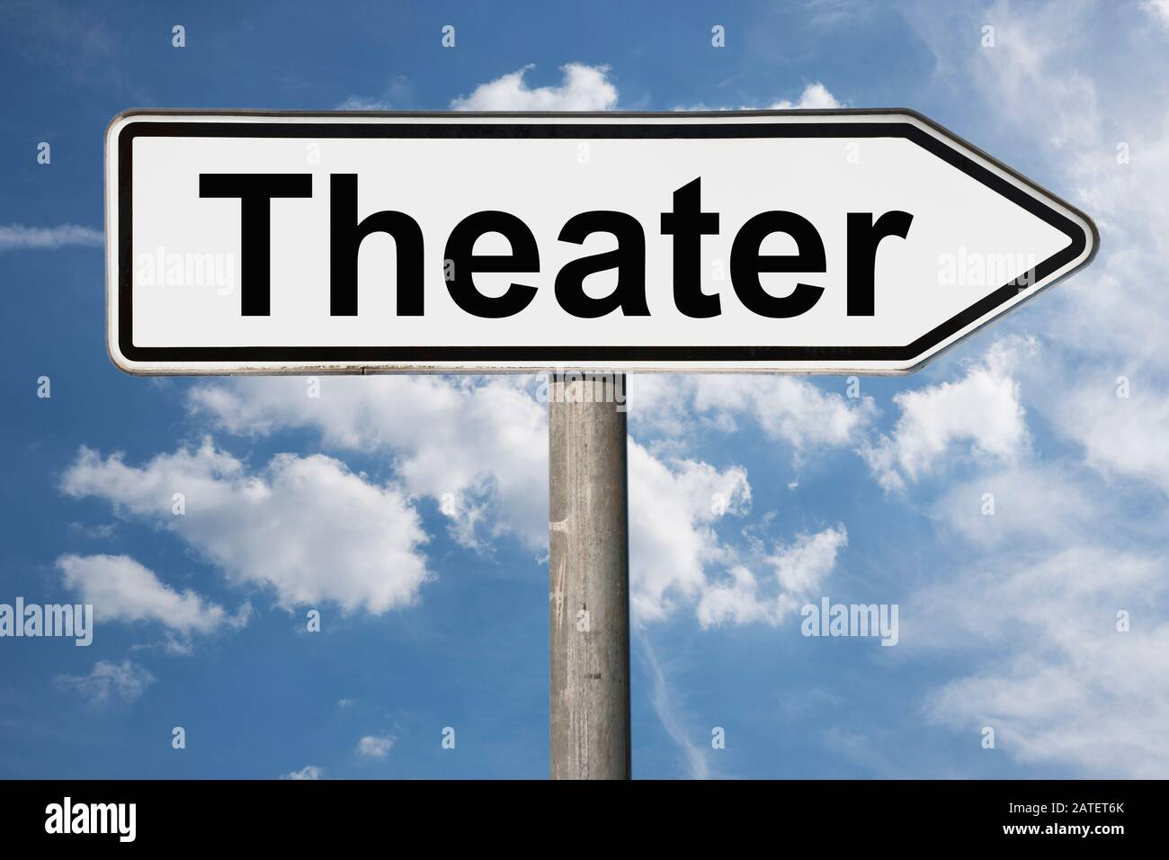 Photo détaillée d'un panneau avec l'inscription Théâtre (Théâtre) Banque D'Images