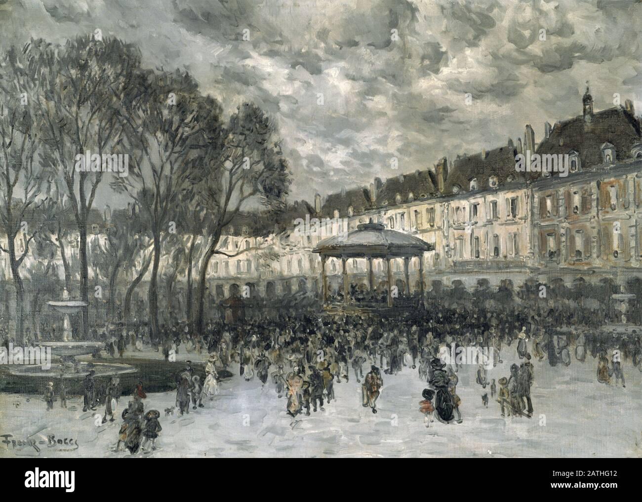 Frank Myers Boggs (Peintre Américain, 1855-1926). Place des Vosges le Jour du Concert. Scène de rue avec musiciens jouant sur le kiosque à musique. Frank Myers Boggs (1855-1926) Peintre Américain. Banque D'Images