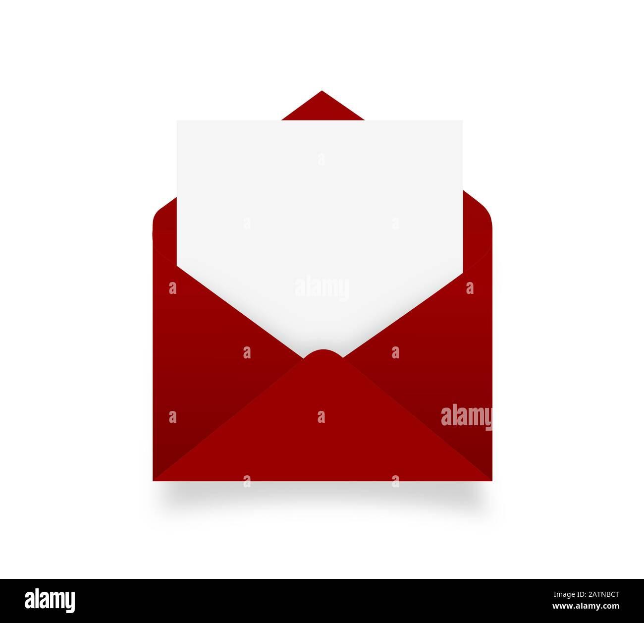 enveloppe rouge avec feuille isolée sur blanc Banque D'Images