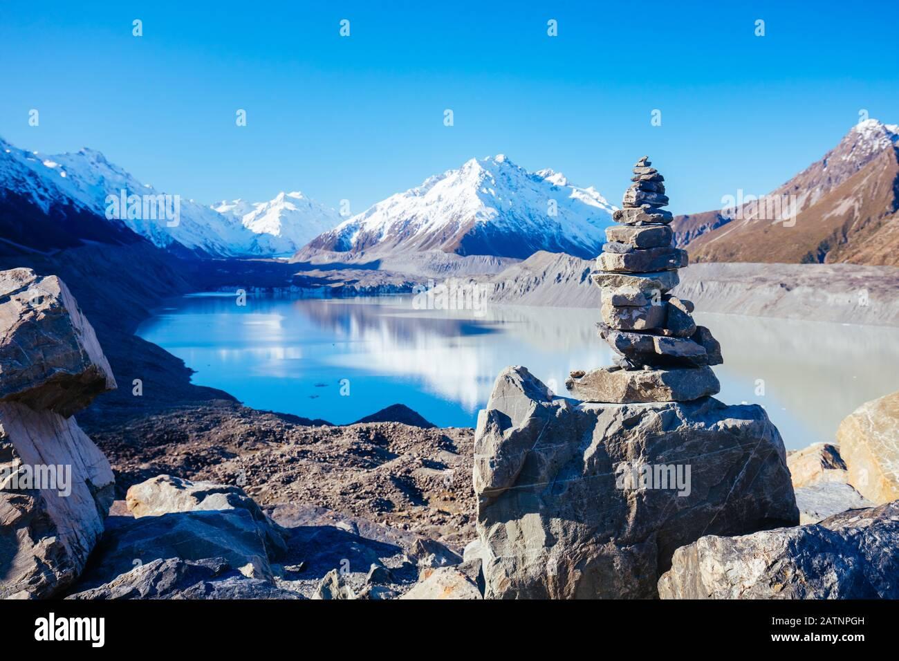 Glacier De Tasman Près Du Mont Cook En Nouvelle-Zélande Banque D'Images