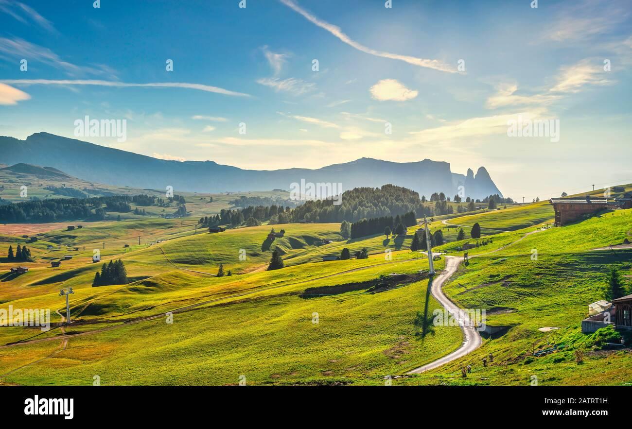 Alpe di Siusi ou Seiser Alm, chemin de montagne et Sciliar ou Schlern montagne. Alpes Des Dolomites, Trentin-Haut-Adige Tyrol Du Sud, Italie, Europe Banque D'Images