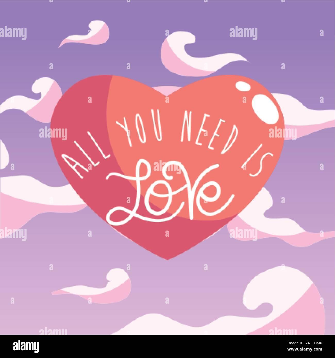 Tout ce dont vous avez besoin est texte d'amour au coeur de la conception de Passion romantique valentines jour mariage décoration et mariage thème illustration vectorielle Illustration de Vecteur
