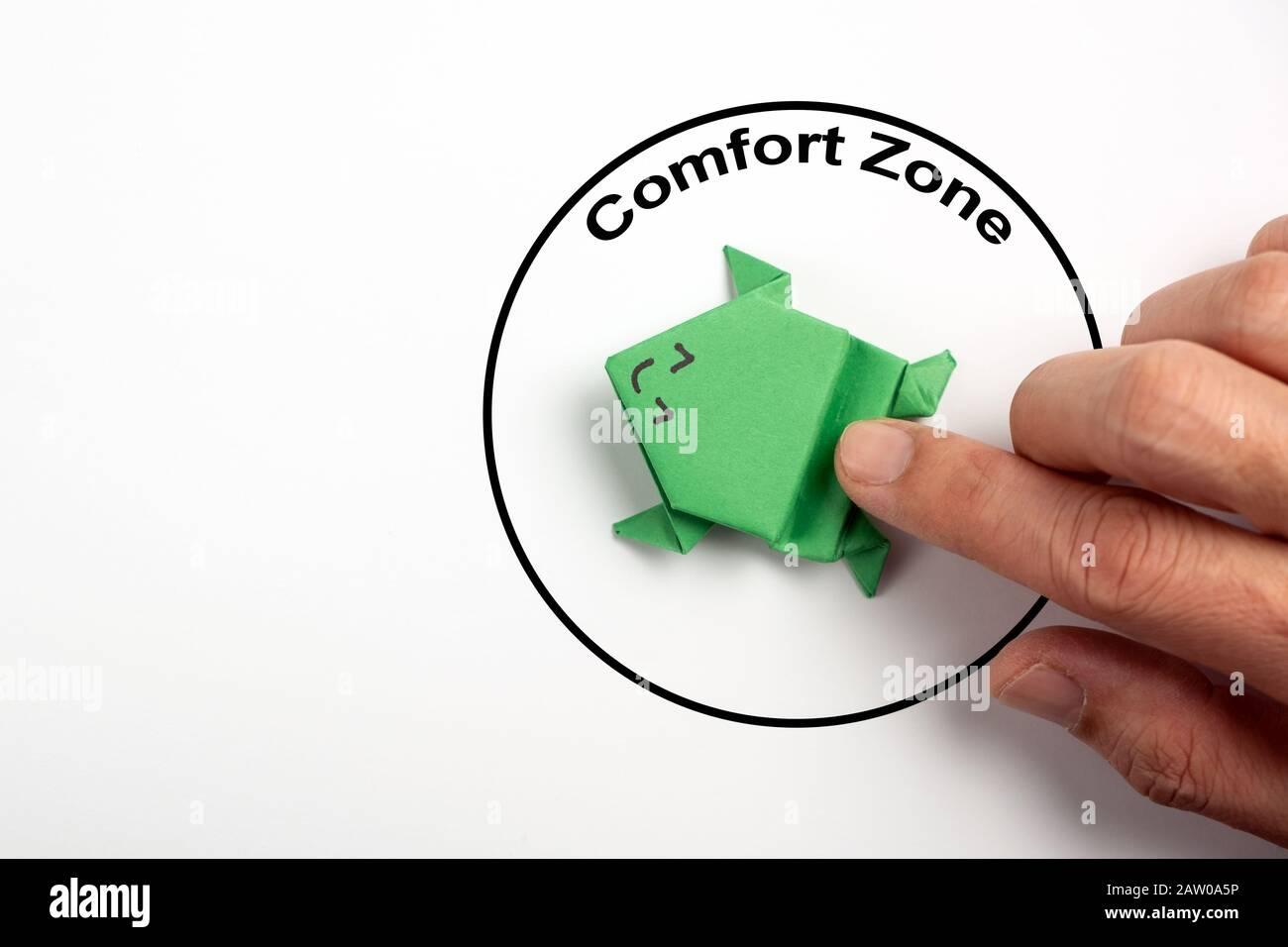 Sortez du concept de zone de confort Banque D'Images