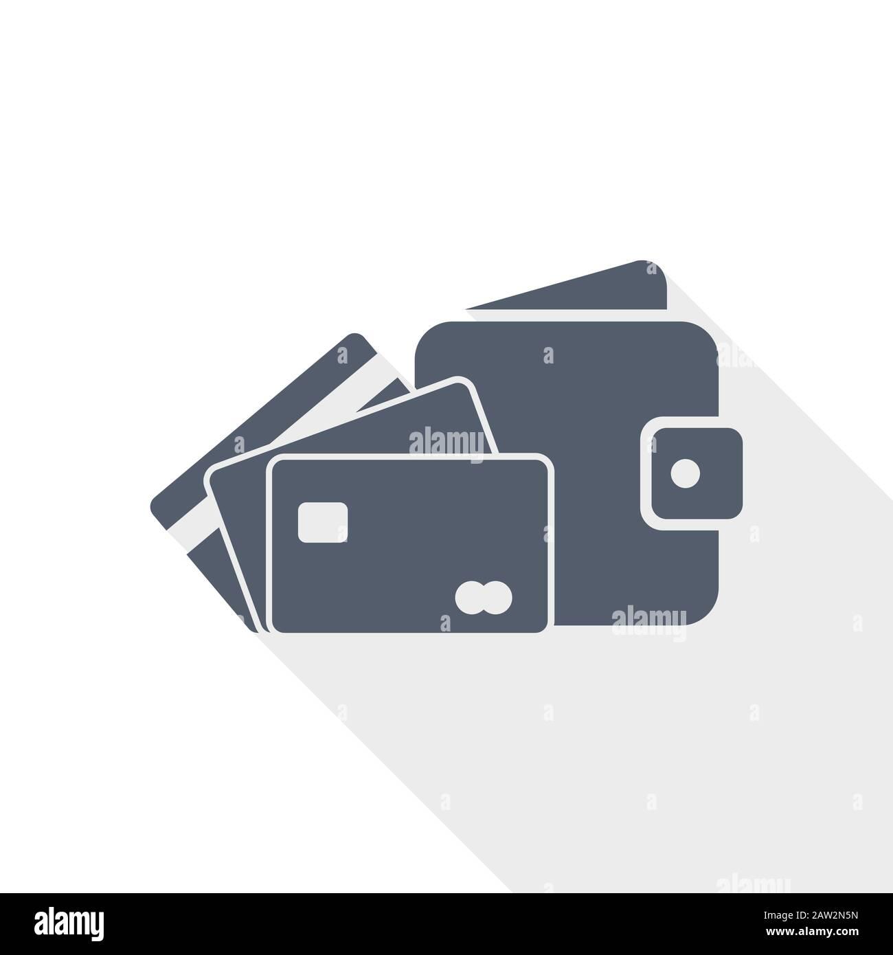Icône vectorielle porte-monnaie et cartes de crédit, illustration du concept d'affaires à plat Illustration de Vecteur