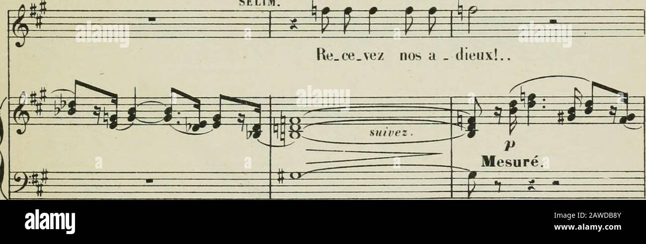 La statue; opéra en trois actes de JBarbier & MCarlèpartition chant et piano transcrite par Georges Bizet . Si : m MOLCK (eiilr;inl) Récit. Moderato. ^ n B r -r g, g E? È=^ =^ ^ ÉsÊt rêve uiouvl 0 am (jliLrS/igieiir, tout est prêt. K^ bp. T]* ^^4 Moderato É ^ite ^» ? ^ E ^ ffl É -Mg- ^A ffl ^ ^ ^ t>cjri- - h*P 7 g - -»- t^ SELIM. Récit.. 1 ^ M4BGYANE (à pari) Récit. 3, . 3 J^ J^ jMip l p- .JU^J^J^> J ^^^=^ Je sens trembler sa nuiri... lldétoiine les yeux!. I ^& k É p ==5* n 5¥PEI = ^ tg fii_ M. ^ f^=F=f 9 ^ (V.f.) A.C KI.H i s (MaROYANK liimène son yoili sou vi^.ijje_ Sklim lui uonne l Banque D'Images