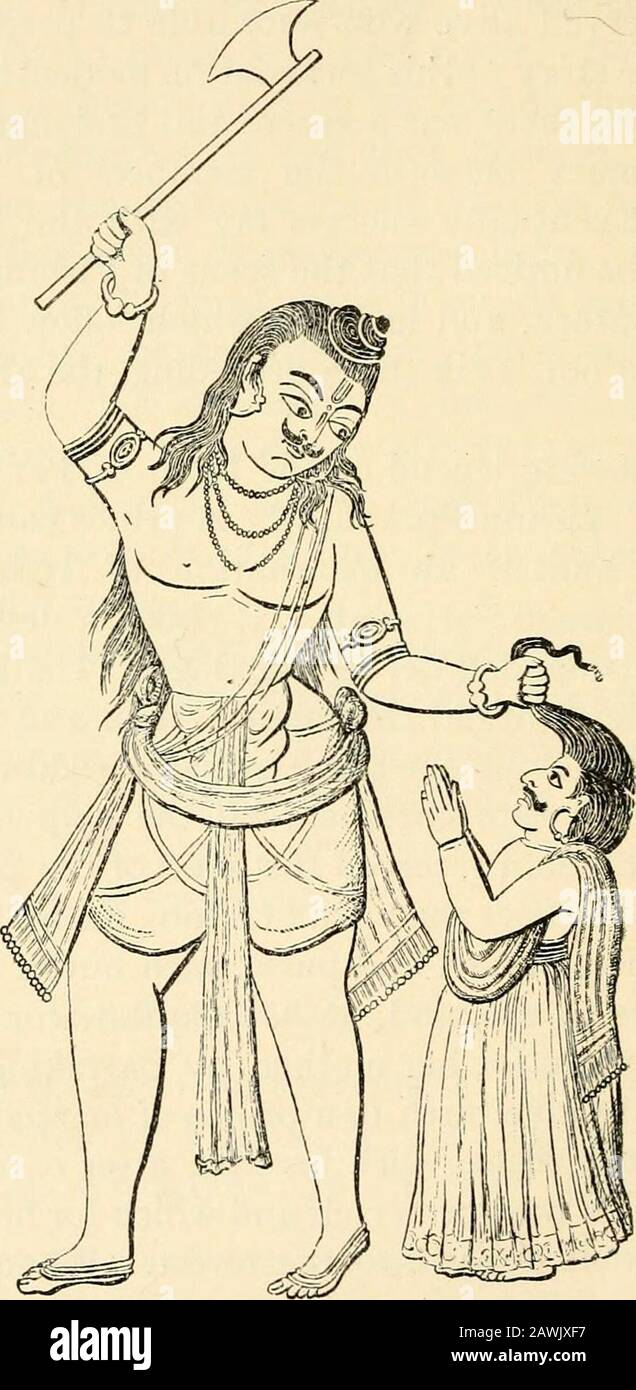 La mythologie hindoue, védique et Purānic . n mille fleechevaux de flotte, chacun ayant une oreille noire, comme un cadeau de mariage.Ces chevaux ont été obtenus, à l'aide de Varuna, et le Brahman a reçu la main de la princesse. Afin de faire la naissance d'un fils, Richika prepareda plat de riz, d'orge et de légumineuses, avec beurre et lait, pour sa femme à manger, Et, à sa demande, consacré un mélange d'asimilar pour sa mère, en prenant de quelleque elle espérait donner naissance à un prince de prowess martial.Laissant les deux plats avec sa femme, après des cris soigneusement qui était pour elle-même et qui pour son mothe Banque D'Images